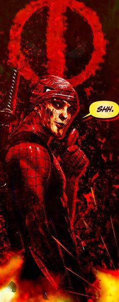 Deadpool dressed up as spiderman