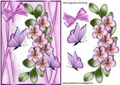 pink flowers and butterflies on lace with bow on Craftsuprint - Add To Basket!