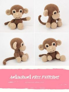 Crochet Monkey Pattern, Crochet Keychain Pattern, Crochet Cow, Free Crochet, Animal Knitting Patterns, Crochet Amigurumi Free Patterns, Stuffed Animal Patterns, Easy Crochet Animals, Lidia Crochet Tricot