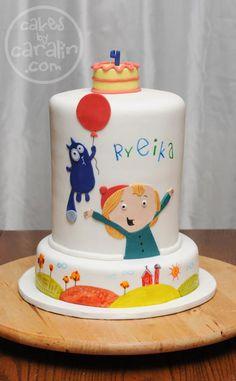 """Peg + Cat"" cake. From Cakes by Caralin in Toronto. https://cakesbycaralin.wordpress.com/2015/10/27/peg-cat-fun-cake/"
