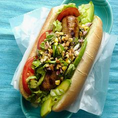 Summer Dogs: a hot dog with avocado, corn relish, and jalapenos. Good Food, Yummy Food, Tasty, Grilling Recipes, Cooking Recipes, Healthy Grilling, Grilling Ideas, Vegetarian Recipes, Healthy Food