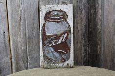 Ball Jar on Wood Back – Rustic Metal Letters & Wall Art Rustic Industrial Decor, Rustic Farmhouse Decor, Rustic Decor, Metal Wall Letters, Letter Wall Art, Ball Canning Jars, Ball Jars, Unique Clocks, Wood