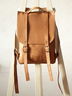 Nude leather backpack rucksack / To order by kokosina on Etsy