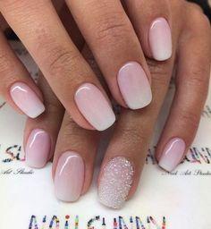 short nails squoval nails ombre nails glitter nails nail inspiration nail d Sns Nails Colors, Pink Ombre Nails, Gel Nails, Squoval Acrylic Nails, Nail Shapes Squoval, Ombre Shellac, Short Nails Shellac, Short Pink Nails, Nails Shape