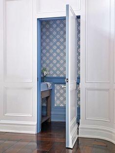 hidden hallway door to powder room Door Displays, Hidden Rooms, Hidden Closet, Hidden Spaces, Secret Rooms, Wainscoting, Interior Exterior, Design Case, Cheap Home Decor