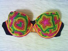 SALE 30 Percent Off - UV Black Light Bra - Hand Painted Rave Bra on Etsy, $35.00