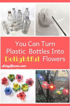 Make faux plastic flowers out of recycled water bottles - Bottle Crafts Plastic Bottle Art, Reuse Plastic Bottles, Recycled Bottles, Fused Plastic, Plastic Recycling, Diy Bottle, Plastic Flowers, Paper Flowers Diy, Water Bottle Flowers