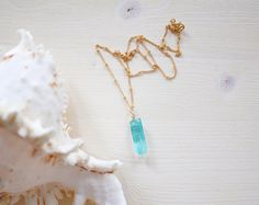 Apatite Crystal Necklace Bright Blue / Green by MoonTideJewellery