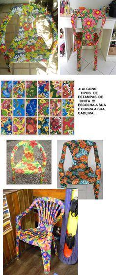 cad1 Diy Plastic Bottle, Boho Diy, Hacks Diy, Chair Covers, Diy Art, Painted Furniture, Recycled Furniture, Cabo Frio, Furniture Making