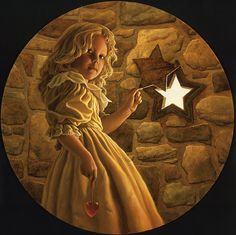 "<h3 class=description_title>LIGHT BEHIND THE STAR (2001)</h3>  <h6 class=description_media>Oil on Canvas - 24"" x 24""</h6>  For me, the faded star is a symbol of despair and disenchantment, but in our children we find the possibilities of a brighter future, a light beyond the negatives of day to day existence."