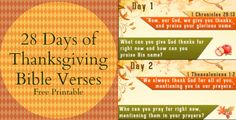 28 Days of Thanksgiving Bible Verses FREE Printable