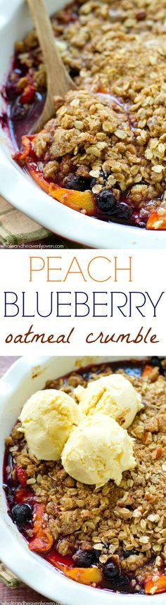 This stunning summer fruit crumble has it all! Bursting with fresh blueberries and peaches and covered with an amazing buttery oatmeal crumble.---A big scoop of vanilla ice cream on top is necessary! @Sarah | Whole and Heavenly Oven