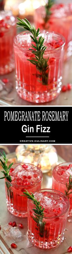 One of my favorites for the holiday season; this Pomegranate and Rosemary Gin Fizz is so crisp and refreshing, not to mention perfectly beautiful! via (drunk party tipsy bartender) Coctails Recipes, Drinks Alcohol Recipes, Yummy Drinks, Christmas Cocktails, Holiday Drinks, Holiday Recipes, Holiday Ideas, Tequila, Vodka