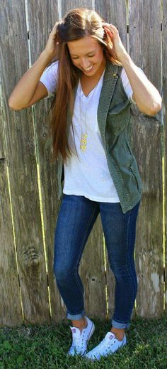 Green vest cropped jeans white tee