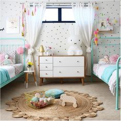 We adore this fun shared girls room!