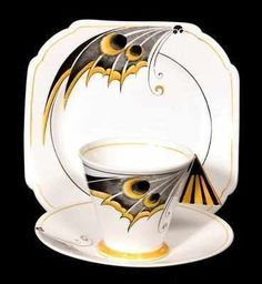 Trio (cup/saucer & plate) in the rare Butterfly pattern