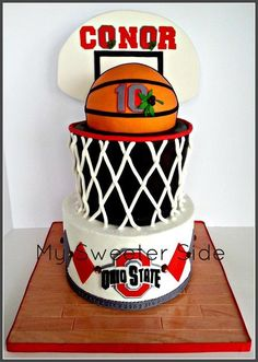 My First ever Icing Smiles cake. The bottom tier is covered in buttercream with fondant decorations. The top tier and basketball are covered in fondant. Buttercream Fondant, Fondant Cakes, Icing, Basketball Birthday Parties, Basketball Cakes, Basketball Hoop, Buckeye Basketball, Basketball Shirts, Beautiful Cakes