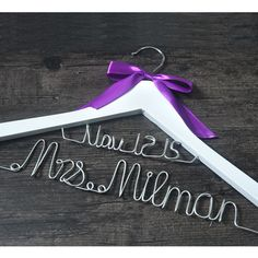 Personalized Bridal Hanger with Purple Bow