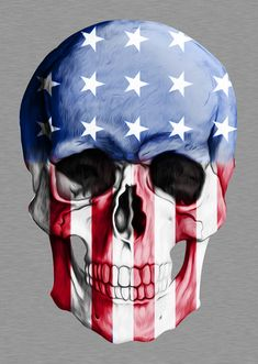 American Skull Art Print by Adel