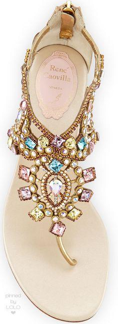 Rene Caovilla Jewel-Embellished Flat Thong Sandal | LOLO❤︎