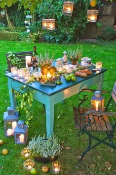 Beautiful Candlelight Dinner at Backyard of the House in Autumn Season