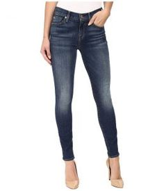 7 For All Mankind The Ankle Skinny w/ Distress in Vintage Kensington (Vintage Kensington) Women's Jeans