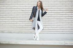 Strictly style // biker jacket // long grey cardigan // white jeans // adidas superstars