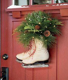 Ice Skates Christmas Wreath...these are the BEST DIY Christmas Wreath Ideas!
