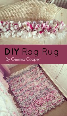 DIY Rag Rug - cut up 3 single bed sheets I had which I didn't use any longer in to strips approximately 15cm x 3cm and knotted on to the anti rug slip