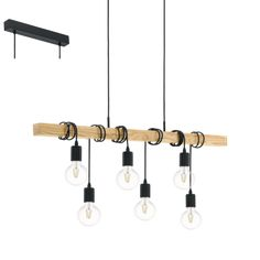 Eglo 95499 Townshend 6 Light Rope Light Ceiling Light With Wooden Bar from Lights 4 Living Flush Mount Lighting, Bar Lighting, Interior Lighting, Chandelier Lighting, Industrial Lighting, Industrial Style, Outdoor Light Fixtures, Bathroom Light Fixtures, Bathroom Lighting