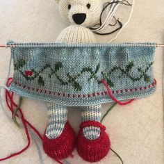 The beginning of a Christmas holly berry dress. I am terrible at stranding three colors, so the berries will be done in duplicate stitch. Knitted Stuffed Animals, Knitted Bunnies, Knitted Animals, Knitted Dolls, Crochet Toys, Knit Crochet, Knitting For Kids, Baby Knitting Patterns, Knitting Stitches