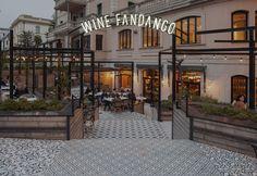 Neon signage and logotype for Spanish wine bar and restaurant Wine Fandango by graphic design studio Moruba