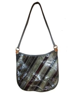 6b5845bec9 Vintage Varon Multicolor Snake Skin Crescent Shape Leather Handbag