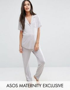 ASOS Maternity Short Sleeve Embroidered Pocket Pajama Set