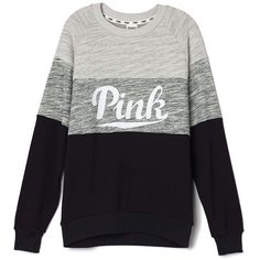 PINK Collegiate Crew ($55) ❤ liked on Polyvore featuring tops, t-shirts, pink, shirts, victoria's secret, lightweight t shirts, colorblock shirt, pink tee, pullover shirt and color block shirt
