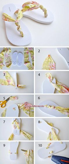 Wonderful Choose the Right Fabric for Your Sewing Project Ideas. Amazing Choose the Right Fabric for Your Sewing Project Ideas. Shoe Crafts, Diy Craft Projects, Sewing Projects, Crochet Shoes, Crochet Slippers, Fabric Flip Flops, Flip Flop Craft, Shoe Makeover, Flipflops