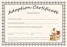 Doll Adoption Certificate Template Inside Pet Adoption throughout New Toy Adoption Certificate Template – Amazing Certificate Template Ideas Free Gift Certificate Template, Printable Certificates, Receipt Template, Banner Template, Free Pet Adoption, Animal Adoption, Editable, Adoption Certificate, Best Templates