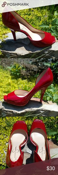 "Jessica Simpson Josette Red Patent peep-toe Jessica Simpson Josette red patent leather peep-toe heels. Heel measures 4.5"". Excellent condition, see picture for minor flaw on heel...a line. Size 8.5  From a pet & smoke-free location. Jessica Simpson Shoes Heels"