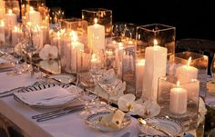Wondering which wedding reception decoration supplies to buy? There are themed selections of reception decoration supplies in local stores and online retail Candle Wedding Centerpieces, Reception Decorations, Table Decorations, Centerpiece Ideas, Reception Ideas, Centrepieces, Non Floral Centerpieces, Rectangle Table Centerpieces, Rectangle Wedding Tables