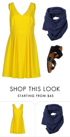 """yellow dress outfit 4"" by jessica-rose-lentz on Polyvore featuring Imperial, Toast and Miz Mooz"