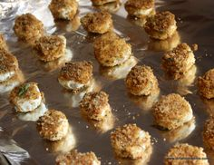 Goat cheese, brushed with olive oil, dredged in bread crumbs and baked.