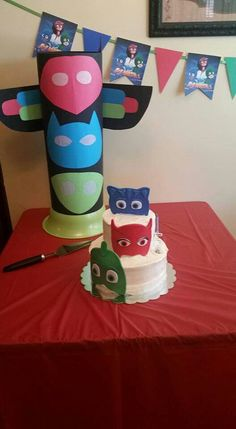 PJ Mask birthday party cake, HQ and banner
