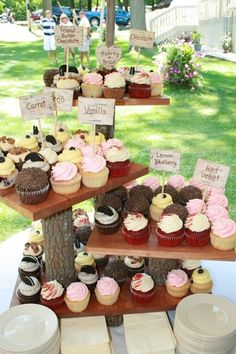 Rustic Wedding Cake Stand - Cupcake Server - Natural Wedding 4 Tier Lrge in Size. $129.99, via Etsy.