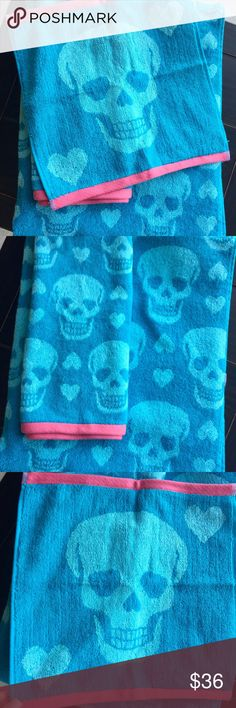"Betsey Johnson Towel Set Aqua & Pink Skulls Hearts NWT Betsey Johnson - 3 Piece Skelator Aqua & Hearts Towel Set   1 Large Bath Towel - 28"" L x 54"" W 1 Hand Towel - 26"" L x 16"" W 1 Wash Cloth - 13"" L x 13"" W Skeleton offers a riskier fashion statement paired with hearts with a slight edge Plush jacquard towels are patterned with grinning skulls.  The wash size is engineered with just a single skull that adds a custom touch to the collection.  Contrast pink colored end hems add a fashion…"