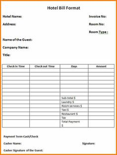 bangalore hotel bill format in pdf hotel bill template printable hotel receipt template in word
