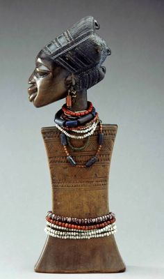 Africa | Doll from the Yoruba people of Nigeria | Wood and beads | ca. 1979 or earlier
