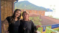 Eu e minha anfitriã Worldpackers, Dina, em Boiçucanga, litoral de São Paulo