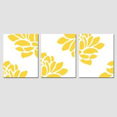 Modern Floral Trio - Set of Three Large Scale Floral 8 x 10 Coordinating Prints - Yellow, Gray, Pink, Blue, and More. $55.00, via Etsy.