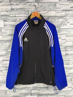 e612c09c2488a ADIDAS Jacket Windbreaker Mens Large Vintage 90 s Adidas Three Stripes  Adidas Multicolour Sportswear Casual Track Jacket Zipper Size L