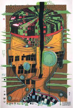 748 One of Five Seamen, Silkscreen by Friedensreich Hundertwasser Austria) Friedensreich Hundertwasser, Wild Baby Rabbits, Rabbit Baby, Norman Rockwell, Modern Art, Contemporary Art, Art Ancien, Wow Art, Outsider Art